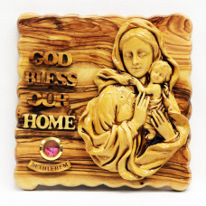 Mary with Baby Jesus with God Bless Our Home