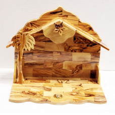 Nativity Stable with Music Box - Olive Wood M