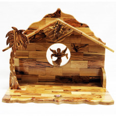 Nativity Stable with Music Box - Olive Wood L